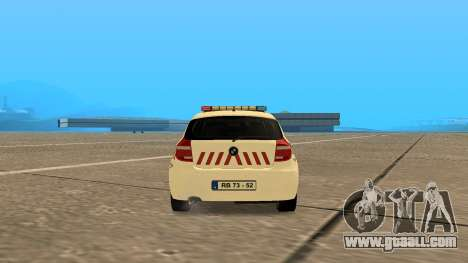 BMW 120i E87 Hungarian Police for GTA San Andreas back left view