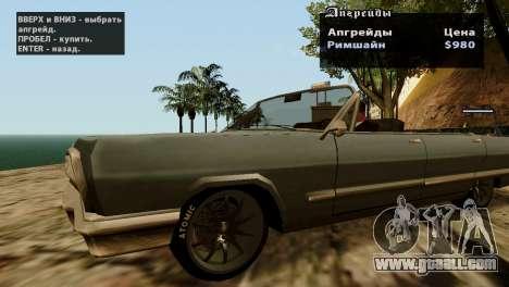 Wheels from GTA 5 v2 for GTA San Andreas sixth screenshot