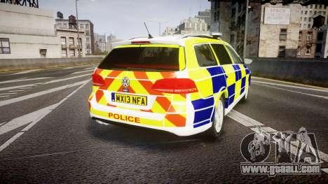 Volkswagen Passat B7 North West Police [ELS] for GTA 4 back left view