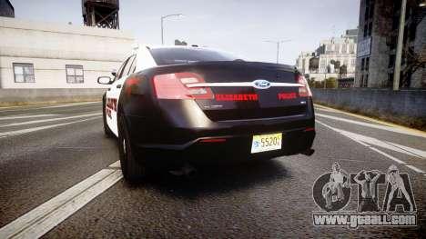 Ford Taurus 2010 Elizabeth Police [ELS] for GTA 4 back left view