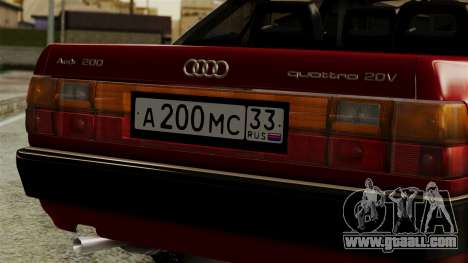Audi 200 Quattro for GTA San Andreas back view