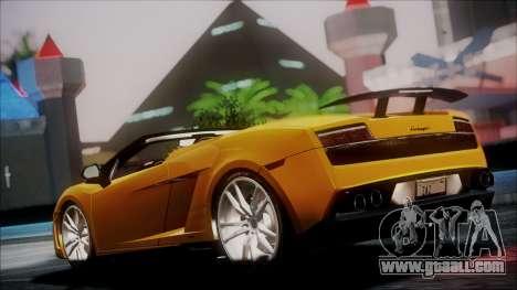 Lamborghini Gallardo LP570-4 Spyder 2012 for GTA San Andreas back left view