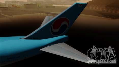 Boeing 747 Korean Air for GTA San Andreas back left view