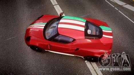 Alfa Romeo 4C 2014 SBK Safety Car for GTA 4 right view