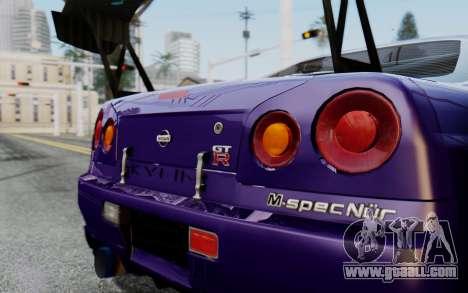 Nissan Skyline GT-R R34 Battle Machine for GTA San Andreas back left view