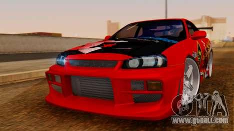 Nissan Skyline R34 Drift Monkey for GTA San Andreas