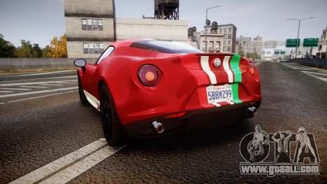 Alfa Romeo 4C 2014 SBK Safety Car for GTA 4 back left view