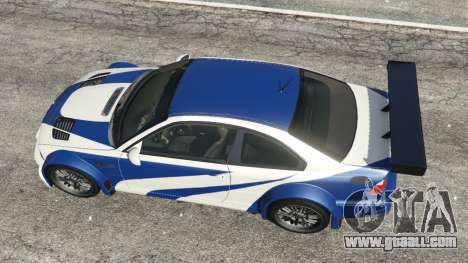 GTA 5 BMW M3 GTR E46 Most Wanted v1.3 back view