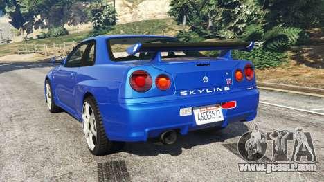 GTA 5 Nissan Skyline R34 GT-R v0.1 rear left side view