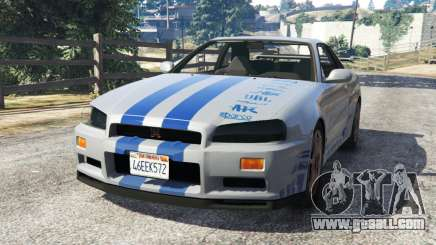 Nissan Skyline R34 GT-R 2002 Fast and Furious for GTA 5