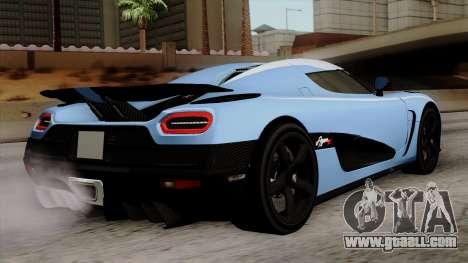 Koenigsegg Agera R 2014 Carbon Wheels for GTA San Andreas left view