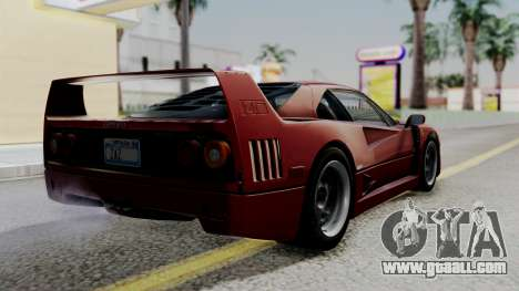 Ferrari F40 1987 with Up Lights IVF for GTA San Andreas left view