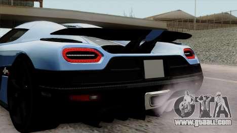 Koenigsegg Agera R 2014 Carbon Wheels for GTA San Andreas back view