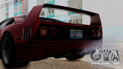 Ferrari F40 1987 without Up Lights IVF for GTA San Andreas inner view