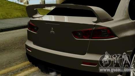 Mitsubishi Lancer Evolution X FQ400 Pro for GTA San Andreas back view