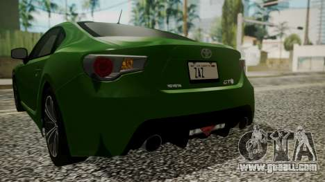 Toyota GT86 2012 for GTA San Andreas bottom view