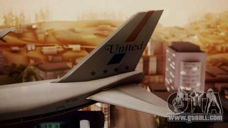 Boeing 747-100 United Airlines Friend Ship for GTA San Andreas back left view