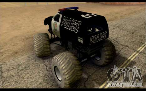 The Police Monster Trucks for GTA San Andreas back left view