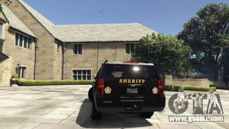GTA 5 Chevrolet Suburban Sheriff 2015 rear left side view