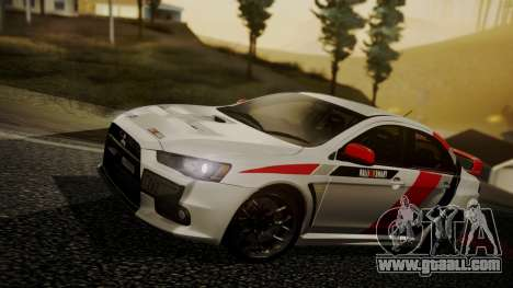 Mitsubishi Lancer Evolution X 2015 Final Edition for GTA San Andreas bottom view