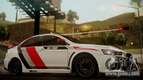 Mitsubishi Lancer Evolution X 2015 Final Edition for GTA San Andreas right view