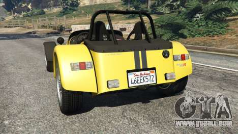 GTA 5 Caterham Super Seven 620R v1.5 [yellow] rear left side view