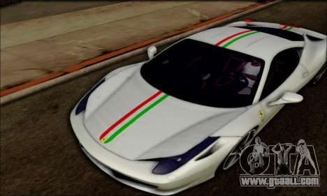 Ferrari 458 Italia 2010 for GTA San Andreas left view