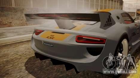 Porsche 918 RSR for GTA San Andreas back view