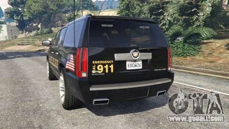 GTA 5 Cadillac Escalade ESV 2012 Police rear left side view