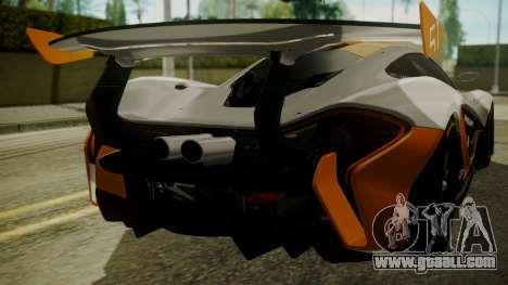 McLaren P1 GTR 2015 for GTA San Andreas inner view