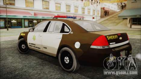 Chevrolet Impala SASD Sheriff Department for GTA San Andreas left view