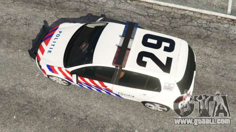 GTA 5 Volkswagen Golf Mk6 Dutch Police back view