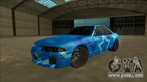 Nissan Skyline R33 Drift Blue Star for GTA San Andreas back view