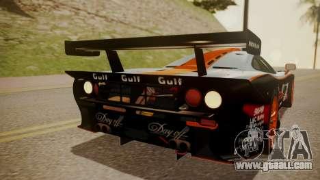 McLaren F1 GTR 1998 Gulf Team for GTA San Andreas upper view