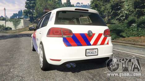 GTA 5 Volkswagen Golf Mk6 Dutch Police rear left side view