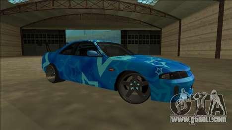 Nissan Skyline R33 Drift Blue Star for GTA San Andreas inner view