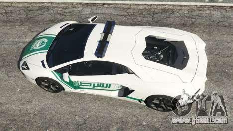 GTA 5 Lamborghini Aventador LP700-4 Dubai Police v5.5 back view