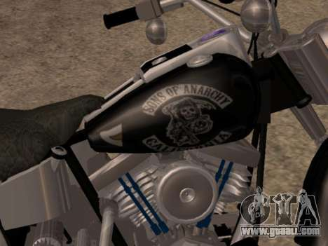 Harley Davidson Fat Boy Sons Of Anarchy for GTA San Andreas back left view