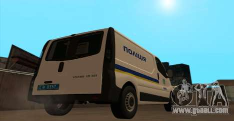 Opel Vivaro Police Of Ukraine for GTA San Andreas back left view