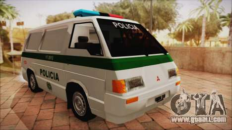 Mitsubishi L300 2008 Patrol Colombian Police for GTA San Andreas back left view