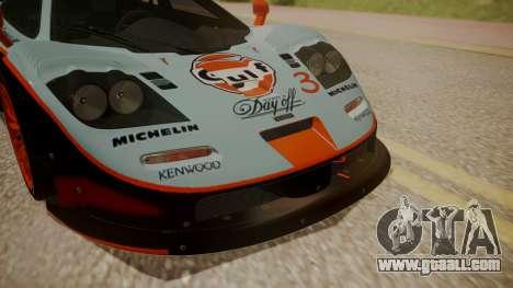 McLaren F1 GTR 1998 Gulf Team for GTA San Andreas back view