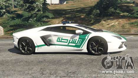 GTA 5 Lamborghini Aventador LP700-4 Dubai Police v5.5 left side view