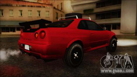 Nissan Skyline R34 Offroad Spec for GTA San Andreas back left view