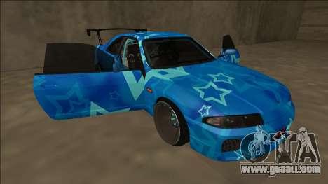 Nissan Skyline R33 Drift Blue Star for GTA San Andreas engine