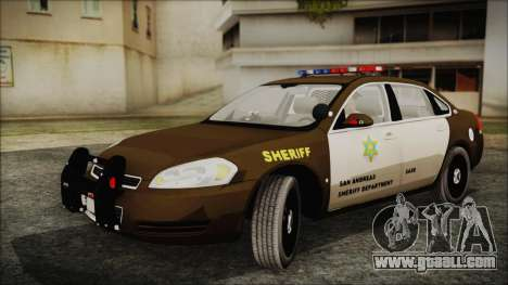 Chevrolet Impala SASD Sheriff Department for GTA San Andreas back left view