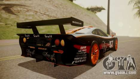 McLaren F1 GTR 1998 Gulf Team for GTA San Andreas left view