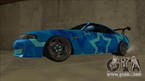 Nissan Skyline R33 Drift Blue Star for GTA San Andreas back left view