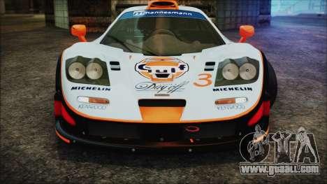 McLaren F1 GTR 1998 for GTA San Andreas bottom view