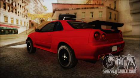 Nissan Skyline R34 Offroad Spec for GTA San Andreas left view
