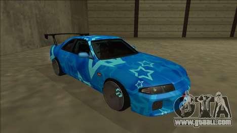 Nissan Skyline R33 Drift Blue Star for GTA San Andreas left view